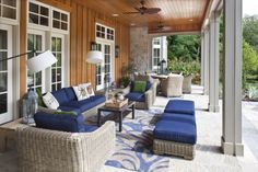 Traditional Porch with Exposed Rafters. The Haint blue hue is awesome! Love this!