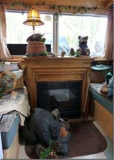 Wow! A fireplace in a camper!