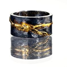 Kintsugi Wedding Band with 18K Gold and Oxidized Silver