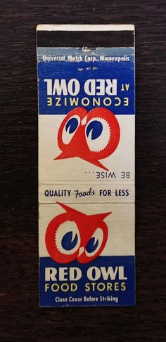 Red Owl Food Stores Matchbook Cover Hopkins MN
