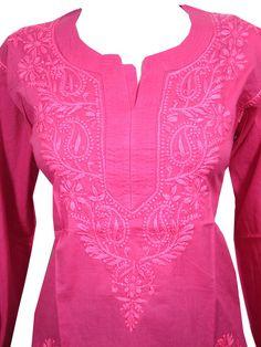 Mogul Womens Pink Boho Blouse Tops Hand Embroidered Yoga Tunic Indian Kurta M at Amazon Women's Clothing store: