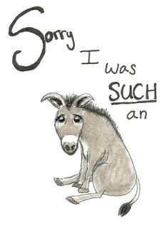 "Funny Quirky Apology Card ""I'm Sorry I was such an ass"" BLANK INSIDE by RuthOosterman, $5.00"