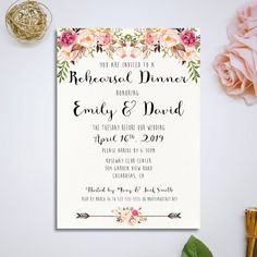 Files include : : : : : : : : : : : : : : : : : : : : : : :  Pink and Ivory Watercolor paper Printable Rehearsal Dinner Invitation  Card