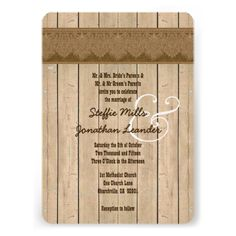 Rustic Style Wood Texture and  Damask Wedding V26 Invite  To see more Jaclinart rustic wedding, visit www.zazzle.com/... #rustic #wedding #fall #autumn #barn #lace #burlap