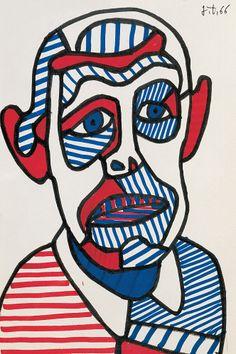 Autoportrait II, 1966 - Jean Dubuffet - Feutre sur papier - 25 x 16,5 cm. Jean Dubuffet (1901-1985) est le premier théoricien d'un style d'art auquel il a donné le nom d'« art brut ».