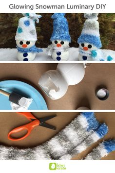 Glowing Snowman Luminary DIY❄️  Given the potential for breakage, glass is simply not going to fly with my crew. So when we were sipping on a Pom Wonderful juice, the bottle spoke to me. We discovered the perfect medium for a snowman luminary!