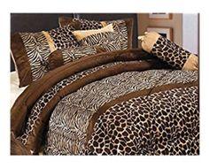 Best Cheetah Print Bedding - 7 Piece Safari – Zebra – Giraffe Print Brown Micro Fur Comforter Set, Bed in Bag, Queen Size Brown Comforter, Fur Comforter, Cal King Bedding, Queen Comforter Sets, Bedding Sets, Leopard Bedroom, Leopard Print Bedding, Animal Print Bedding, Animal Prints