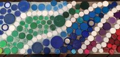 BottleBrickPhilly: Plastic Bottle Cap Mosaic Grouting Experiments - Euhri Jones and Betsy Teutsch
