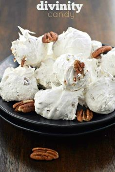 Divinity Candy is a Southern classic. Just one bite and you'll be hooked on this chewy, soft vanilla treat packed with crunchy pecans! Köstliche Desserts, Best Dessert Recipes, Sweets Recipes, Candy Recipes, Holiday Recipes, Delicious Desserts, Plated Desserts, Pecan Recipes, Top Recipes