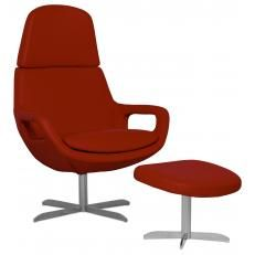 loungestoel-bells-semi-aniline-leer-rood-met-hocker € 1019,- Fashion For Home