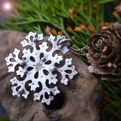 Dancing Snowflake Necklace Silversmithed Snowflake by LilyBlonde