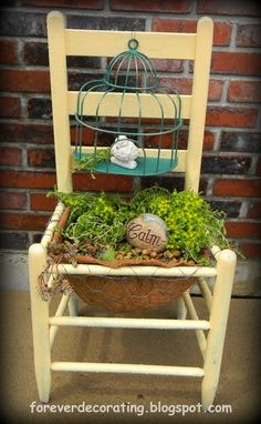 Image detail for -... adorable succulent chair. I too have an old wooden chair in my garden