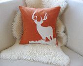 Deer Decorative Pillow Cover,Buck Antlers,Vintage-Washed Rust Orange & Off-White Applique 18x18/20x20-Woodland-Rustic Modern-Limited Edition