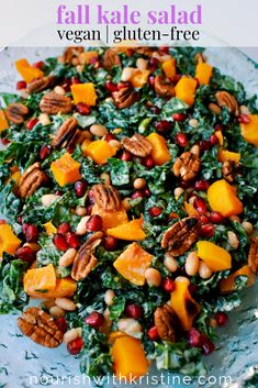 Roasted Butternut Squash Kale Salad with Cannellini Beans, Toasted Pecans, Pomegranate Seeds, and Tahini Maple Dressing