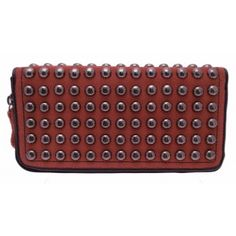 Red studded suede purse £15