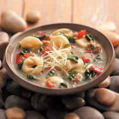 Rustic Italian Tortellini Soup Recipe http://www.tasteofhome.com/recipes/Rustic-Italian-Tortellini-Soup