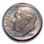 "1982 Dime without a P - Before 1980, dimes minted in Philadelphia didn't have a mint mark. Starting that year, a small letter ""P"" was placed on Philly dimes above the date."