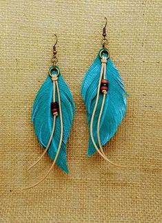 Leather Earrings Leather Feather Earrings Feather Earrings