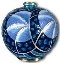 Limoges Vase dating c1930 by Henriette Marty utilising enamel on copper