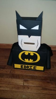 Casons Batman valentine mailbox Made from cereal and shoes boxes