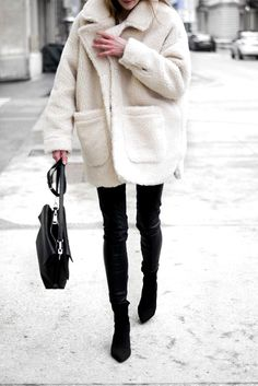 white cozy sherpa coat with black jeans and boots. Visit Daily Dress Me at daily...#black #boots #coat #cozy #daily #dress #jeans #sherpa #visit #white Nude Outfits, Fashion Outfits, Womens Fashion, Casual Outfits, Warm Outfits, Sweater Outfits, Fashion Clothes, Fall Winter Outfits, Autumn Winter Fashion
