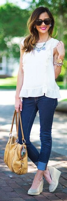 Asos White Lovely Peplum Ruffle Tank Top by Sequins & Things
