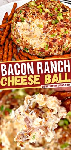 Nothing goes faster at a party than a delicious, classic cheese ball! This recipe is a cinch to put together, with a creamy ranch base, bacon, cheddar, green onions, and pecans. Served with pretzel twists, crackers, or crostini, this easy appetizer is a crowd-pleaser! Cheese Ball Recipes, Bacon Recipes, Cheddar Bacon Ranch Cheese Ball Recipe, Bacon Ranch Cheeseball, Dip Recipes, Yummy Recipes, Yummy Food, Thanksgiving Recipes, Thanksgiving 2020
