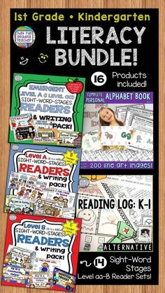 First grade and kindergarten teachers, click through save with this bundle! Best-selling personal alphabet book kit, alternative reading log and 14 Level aa-B Sight-Word Reader, sentence puzzles and fun follow-ups sets included! $