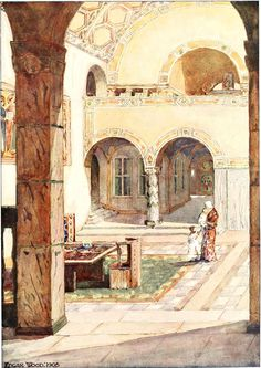 Edgar Wood's design for a Study Hall is open, sunny and inviting.  The lower walls are covered with exotic marbles while above are colourful patterns.  The feel is almost Mediterranean.