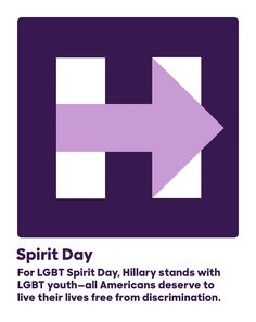 For LGBT Spirit Day, Hillary stands with LGBT youth—all Americans deserve to live their lives free from discrimination.