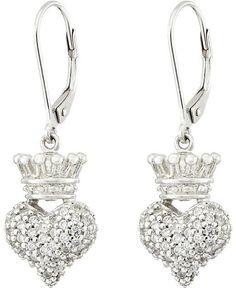 King Baby Studio - Small 3D Crowned Heart Lever Back Earrings Earring