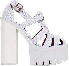 Lady Gaga Stuns in Kay Goss and White Platform Heels