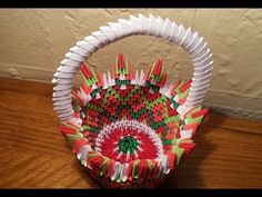 origami basket by akvees on Etsy Origami Mouse, Origami Yoda, Origami Star Box, Origami Stars, Origami Modular, Origami Folding, Origami Easy, Paper Folding, 3d Origami Swan