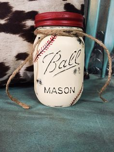 "Love how my Mason Jar ""Baseball"" Piggy Bank turned out can't wait to send it to my etsy order customer in the mail! love it!!! proud of myself"