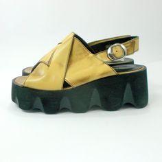 Chunky 90s platform shoes Pro Universum peeptoe disco by etsyYNB