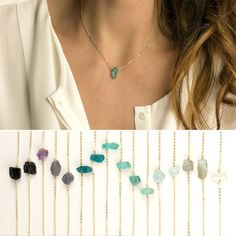 Delicate Raw Crystal Necklace - Minimal & Simple - raw crystal on a dainty chain. Rustic, Understated Luxury. Choose from quality 14k gold fill, rose gold fill or sterling silver chain. Necklace: RAW CRYSTAL NECKLACE - Genuine Semi-Precious Gemstone Crystal 100% Natural, NOT dyed! -