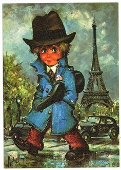 CPSM 112 MICHEL THOMAS GAMIN TITI GANGSTER CLYDE TRACTION ETUI VIOLON PARIS