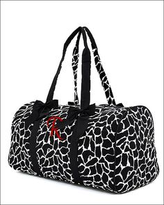 Personalized Quilted Giraffe Print Duffel Bag - Black and White