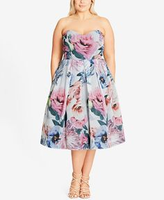 103.99$  Watch now - http://vimes.justgood.pw/vig/item.php?t=6oz14v41189 - Trendy Plus Size Floral Fit & Flare Dress