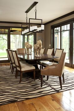 5 Rooms Featuring A Zebra Print Rug Transitional Dining RoomsContemporary RoomsTransitional BathroomDark Wood TrimDark FloorsHome IdeasFor