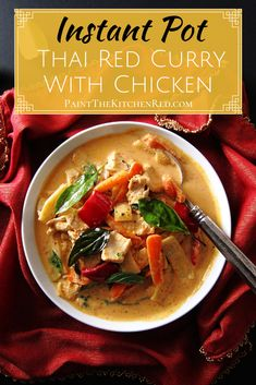 Instant Pot Thai Red Curry with Chicken is delicious and makes a perfect meal when paired with Jasmine Rice. It comes together quick and easy in the Instant Pot! Perfect for a busy weeknight meal or when your family is crazing Thai takeout. Instant Pot Pressure Cooker, Pressure Cooker Recipes, Pressure Cooking, Curry Recipes, Pork Recipes, Chicken Recipes, Instant Pot Curry Recipe, Instant Pot Asian Recipes, Slow Cooker