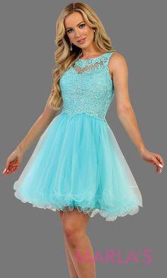 0106c8b0166b Short high neck puffy aqua blue dress with lace top. Perfect for grade 8  grad