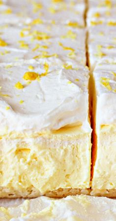 Lemon Cream Pie Bars- Lemon flavor isn't the knock-you-out sort, but a sweet, smooth punch in a bed of whipped cream. You're gonna love these!