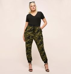 20148bb632cd6 Shop the full collection of plus size pants like the Camo Knit Jogger  available at loralette.com. Avenue Store