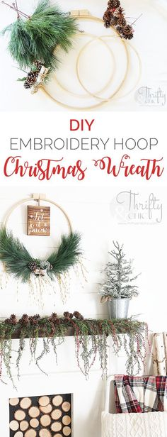DIY Christmas wreath made with an embroidery hoop. DIY Christmas decor and decorating ideas. Farmhouse Christmas ideas. @HobbyLobby #HobbyLobbyMade #HobbyLobbyHoliday #ad