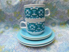 Pair Of Cute Vintage Retro 1970s Blue by Wumpkieswares on Etsy