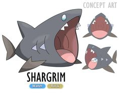 I really wish they made another shark  . . Shargrim Water/Rock . . Remember to send entries to #pikosdexentries for your chance to get your Pokemon drawn by me and included in my region  . . Designed by the Great Gabriel :3 #fakemon #pokemon