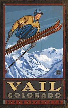 Skier in Air Vail Colorado, Ski Decoration