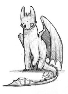 Toothless (how to train your dragon)  Drawn by Elora Lyda http://eloralyda.blogspot.ca/2011/01/how-to-train-your-dragon.html?m=1