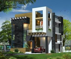 Exterior elevations modern houses residential house plans and pin of Pnikandan on … - Architecture House Plans 2 Storey House Design, House Front Design, Modern House Design, Modern Houses, Independent House, Front Elevation Designs, House Elevation, Modern Bungalow Exterior, Modern Minimalist House